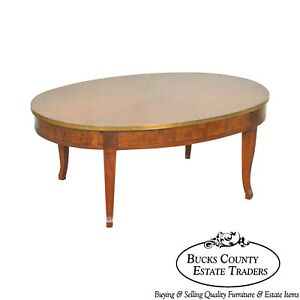 Baker Regency Style Sunburst Top Oval Burl Wood Coffee Table