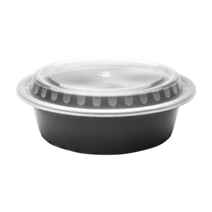 Karat 32 Oz Pp Microwavable Round Food Containers With Lid Black 150 Ct