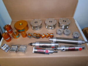 Lot Of 25 Pneumatic Cylinders Some Unused Some Used Bimba Phd Fabco air