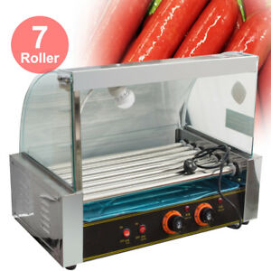 Quality Commercial 18 Hot Dog Hotdog 7 Roller Grill Cooker Machine W Cover Hood