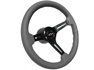 1969 1989 Chevy S6 Grey Leather Steering Wheel Covert Kit Silver Bow Tie