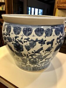 Chinese Blue And White Porcelain Fish Bowl Planter