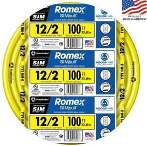 Southwire Romex Simpull 100 ft 12 2 Non metallic Wire Ul Listed Residential New