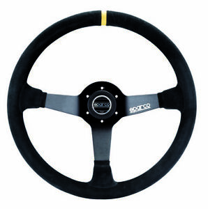 Sparco Competition R368 380mm Suede Steering Wheel W Yellow Stripe 015r368msn