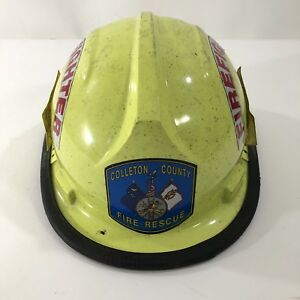 Vtg Bullard Fh 2100 Fire Helmet Yellow Colleton County Fire Rescue Firefighter