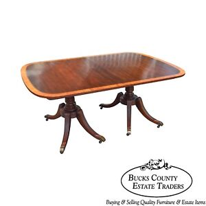 Baker Banded Mahogany Duncan Phyfe Style Vintage 1940s Dining Table