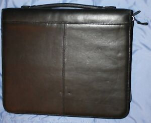 Canyon Outback Black Leather 3 1 5 Ring Zippered Planner Full Size Briefcase