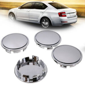 4pcs 65mm Universal Plastic Car Wheel Center Hub Cap Cover Silver No Logo Usa