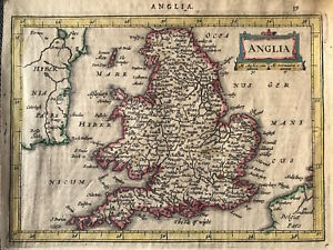 Original Map Anglia By Jan Jansson After Mercator C1634 England