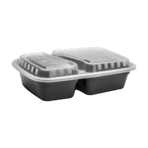 30 Oz Pp Microwavable Rectangular Food Containers W lids Black 2 Compartment