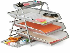 3 tier Home Office Work Metal Mesh File Pens Staples Paper Organizer Tray New