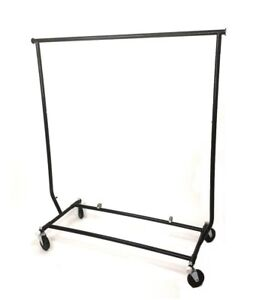 Black Salesmans Clothing Garment Rack fold able With Wheels