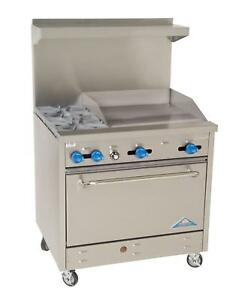 Comstock Castle 36 Gas Restaurant Range W 2 Burners 24 Griddle
