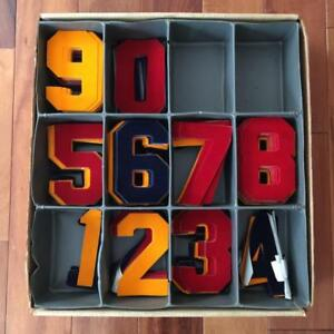 Vintage Nos 6 Flocked Red Gold Navy Heat Transfer Numbers