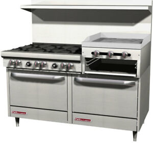 Southbend S60dd 2rr 60 Gas 6 Burner Restaurant Range 2 Ovens 24 Raised Griddle