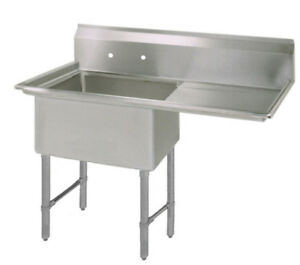 Bk Resources 16 x20 x12 One Compartment Sink S s Leg Drainboard Right