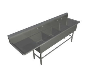 John Boos 4pb184 1d30l 4 Compartment 18 X 18 Stainless Steel Pro bowl Sink