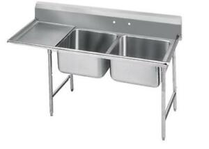 Advance Tabco 2 Compartment Sink 18 Gauge 16 x20 Bowl S s 18 Drainboard