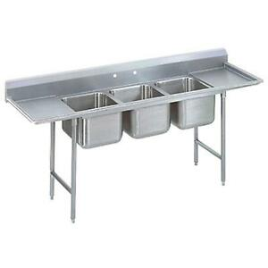 Advance Tabco 3 Comp Sink 18 Gauge 20 x20 Bowls S s Two 24 Drainboards