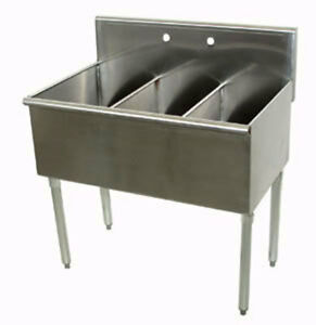 Advance Tabco 3 Compartment Scullery Sink 12 X 21 Bowls 430 Series S s