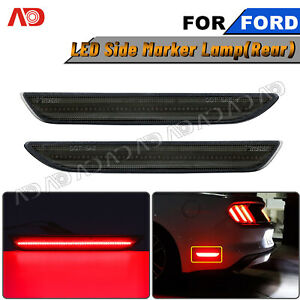 For 2015 2020 Ford Mustang Rear Led Side Marker Lights Bumper Lamps Smoked Tint
