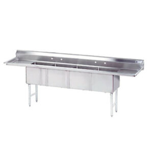 Advance Tabco 4 Compartment Sink 18 x24 x14 Bowl Two 18 Drainboards