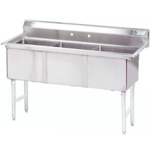 Advance Tabco 3 Compartment Sink 18 x24 x14 Size Bowl Stainless Steel