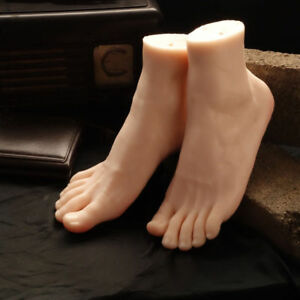 One Pair Flexible Soft Silicone Display Male Foot Mannequin