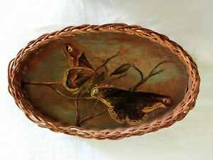 Vintage Antique Primitive Blue Wicker Basket Tray Folky Oil Painting Moths Old