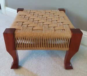 Rustic Primitive Woven Twine Foot Stool Bench Country Home Decor