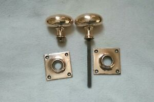Vintage Pair Of Bronze Door Pull Knobs Handles Duck Egg Shaped Square Plate
