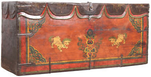 Vintage Hand Painted Chinese Art Wood Opera Trunk Chest Box 58 X 26 H