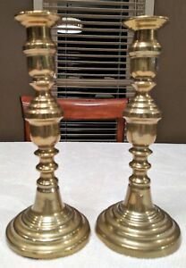 Two Antique Brass Pushup Candlesticks Ten Inches Tall