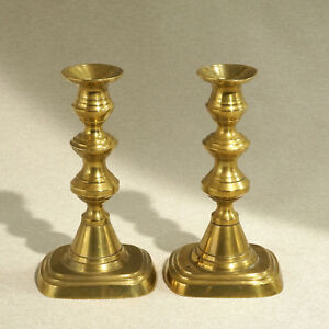 Matched Pair Antique Brass Candlestick Rectangle Base Push Up Ejector