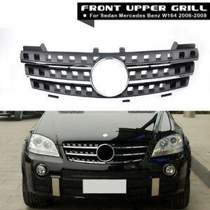 3 Fin Front Hood Black Chrome Grill Grille For Mercedes Ml Class W164 2005 2008