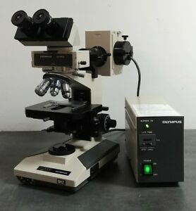 Olympus Microscope Bh 2 With Fluorescence Nc Splanapo 100x And Df Condenser