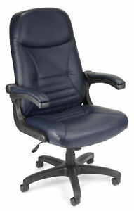 Office Furniture 250 Lbs Mobilearm Navy Leather Executive Chair W Flip up Arms