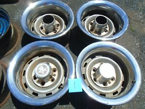 Chevy Truck K5 Blazer 15 Rally Wheel Rims With Trim Rings 6 Lug Set Of 4 Oem 1