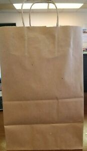 300 Bags 1 6 Bbl Brown Shopping Bag With Paper Handles 12 X 7 X 17 gifts