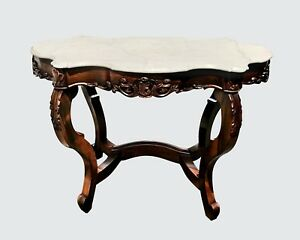Antique Victorian Rosewood Turtle Top Parlor Table With Exceptional Carvings