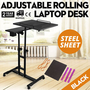 Adjustable Height Rolling Laptop Desk Table Shelves Tattooing Cart Over Sofa