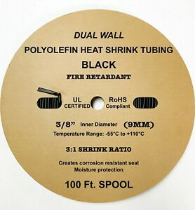 100 Ft Black 3 8 9mm Dual wall Adhesive 3 1 Ratio Heat Shrink Tubing M23053 4