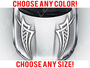 Checkered Car Racing Stripe Mirrored Hood Decal Vinyl Tribal Custom Size Color