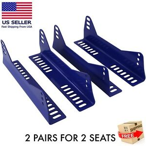 2 Pairs Side Mount Seat Brackets For 2 Bucket Racing Seats Blue