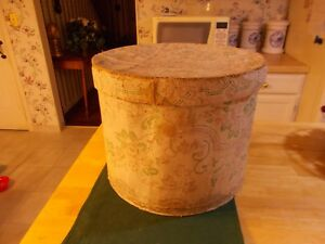 Early 1800s Round Large Sized Wallpaper Hat Box With Floral Design Wallpaper