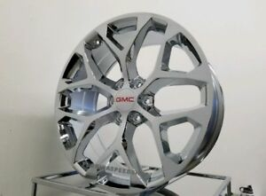 Triple Chrome Snowflake Gmc Sierra Denali Silverado Wheels Set 20x9