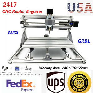 Usb Diy Cnc 2417 Mill Router 3 Aixs Desktop Metal Engraver Pcb Milling Machine