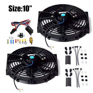 2x 10 Black Electric Radiator Fan 3000 cfm Thermostat Wiring Switch Relay Kit