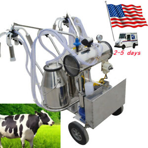 Movable Double Tank Milker Electric Milking Machine Milker Vacuum Pump For Cows