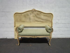 2pc Headboard Bench Bed Queen Size Cane Hollywood Glam Regency French Provincial